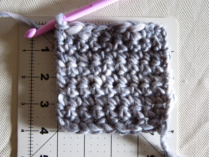 crochet, yarn, gauge swatch, Loops & Threads 'Facets'