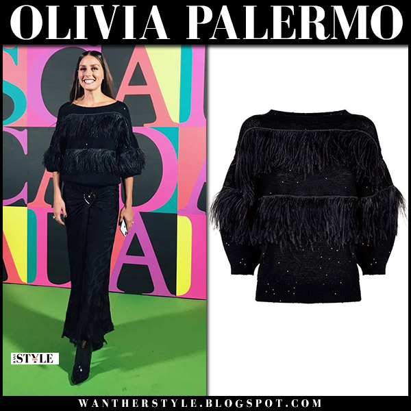 Olivia Palermo in black feather trim sweater brunello cucinelli and black skirt new york fashion week style september 9