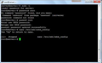 mengaktifkan akase root ssh ubuntu server