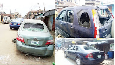 PHOTOS: Lagos residents accuse police of vandalising 200 vehicles