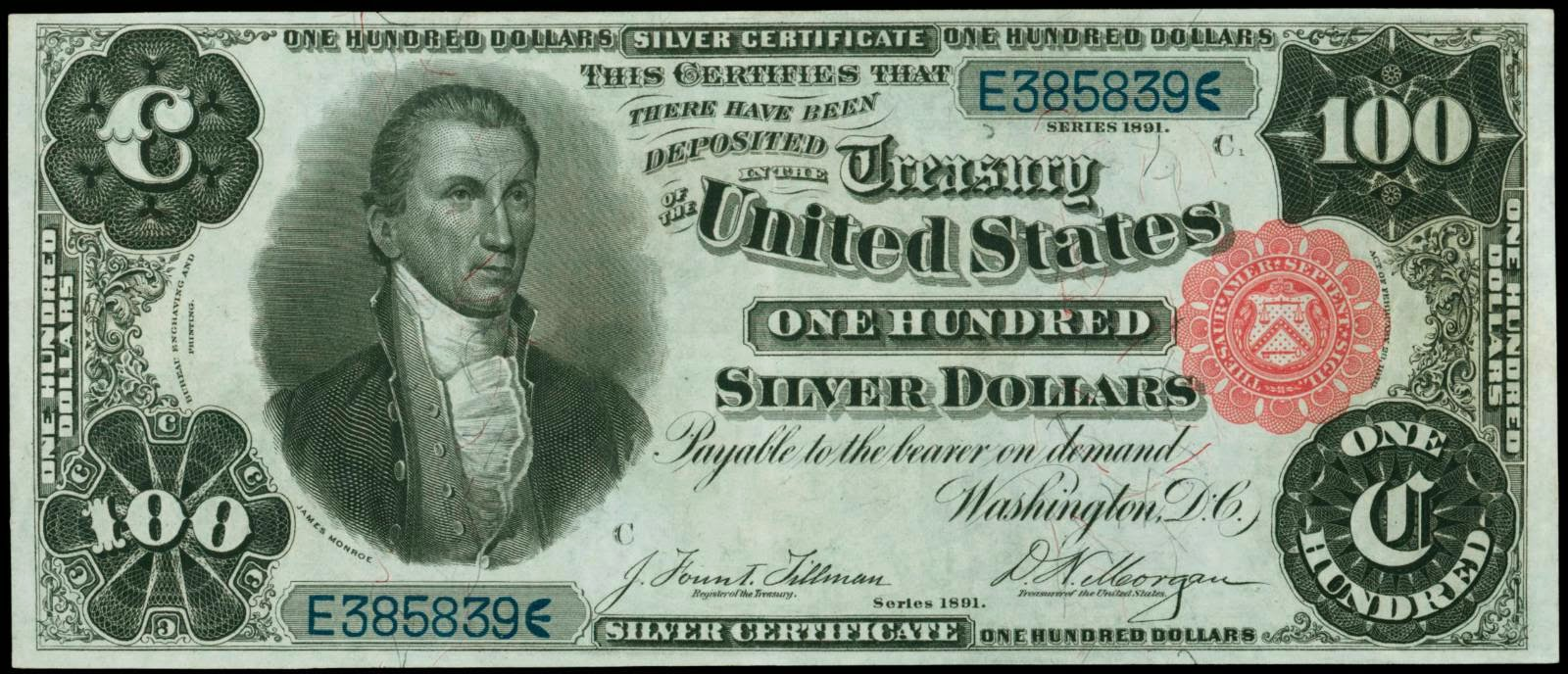 US currency 1891 One Hundred Dollar Silver Certificate