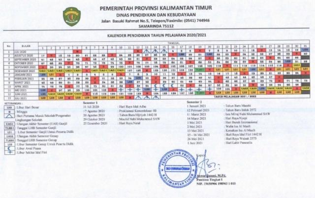 Download Kalender Pendidikan Provinsi Kalimantan Timur Tahun Pelajaran 2020/2021