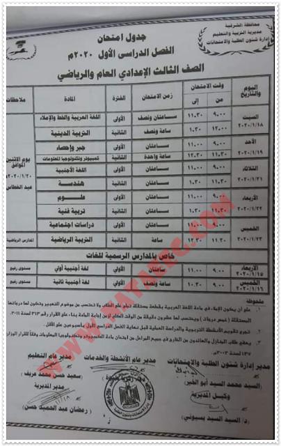 جدول مواعيد امتحانات التيرم الأول بمحافظة الشرقية