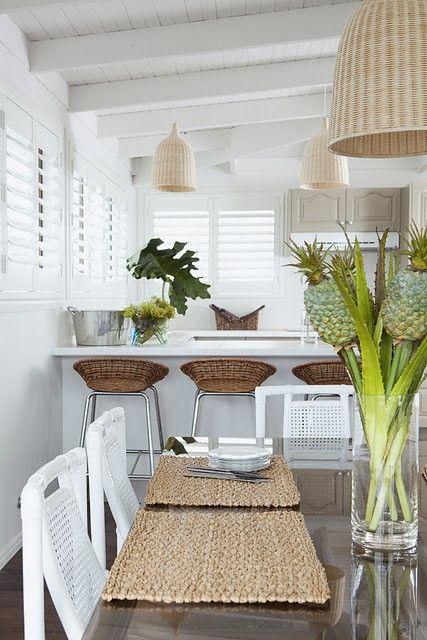 Beautiful kitchen with white plantation shutters