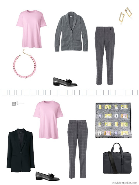 2 ways to wear a pink tee shirt in a Tote Bag Travel capsule wardrobe