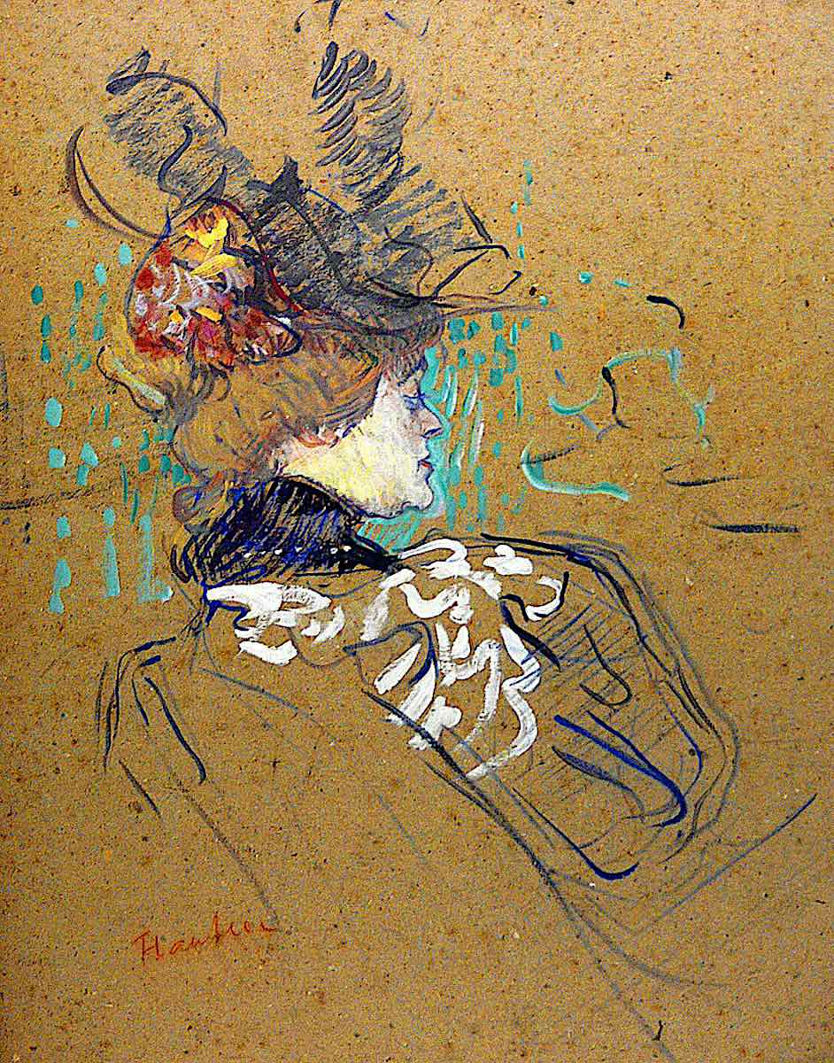 a Toulouse Lautrec color sketch of a woman in profile