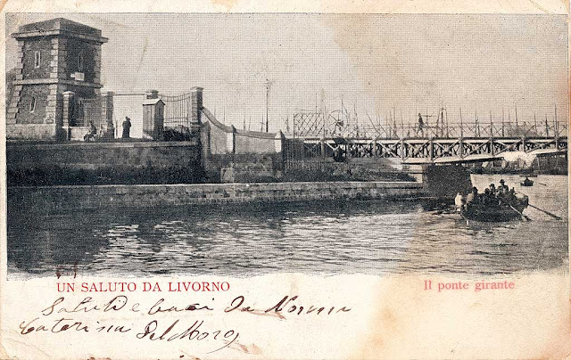 Vintage postcard, tower and the old swing bridge, Porto Mediceo, Livorno