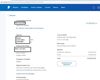 Prova de pagamento PayPal - Ganhos Marketing Digital