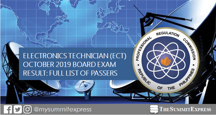FULL RESULTS: October 2019 Electronics Technician ECT board exam passers