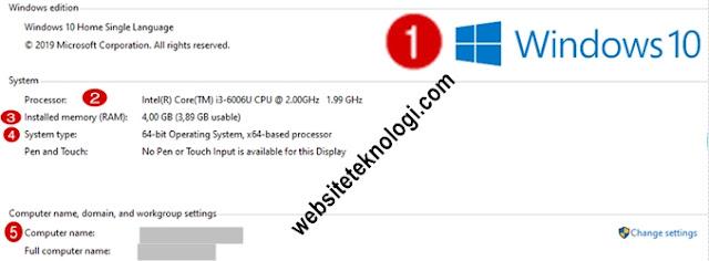 Cara Mengetahui Windows Berapa, Memori/RAM, 32 atau 64-bit, Processor, dan Computer Name di Laptop Kita