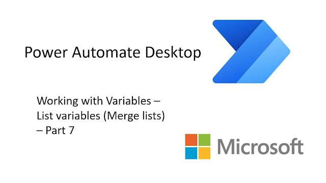 Power Automate Desktop - Merge lists