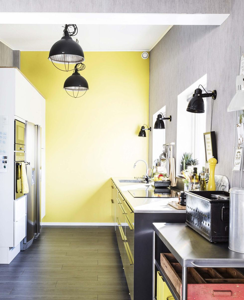 design attractor yellow and gray interior with industrial influence. Black Bedroom Furniture Sets. Home Design Ideas