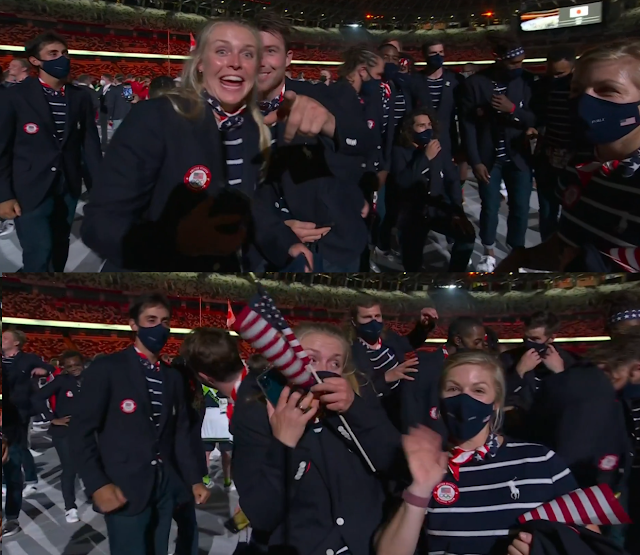 Tokyo 2021 Olympics Opening Ceremony performative mask wearing Team United States of America for camera