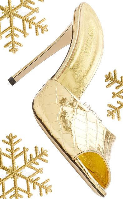 Paris Texas golden croc-embossed metallic leather mule shoe #brilliantluxury