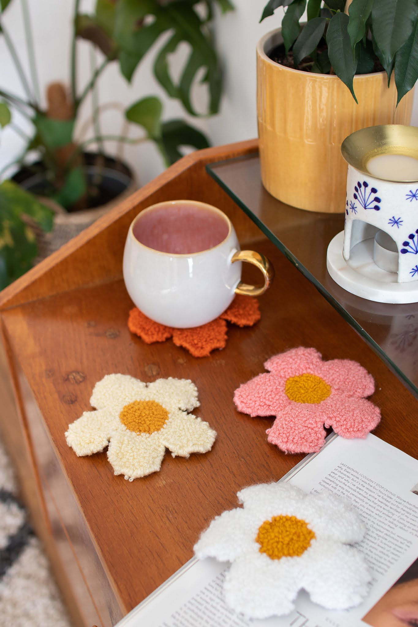 flower shaped punch needle coasters styled with midcentury interiors