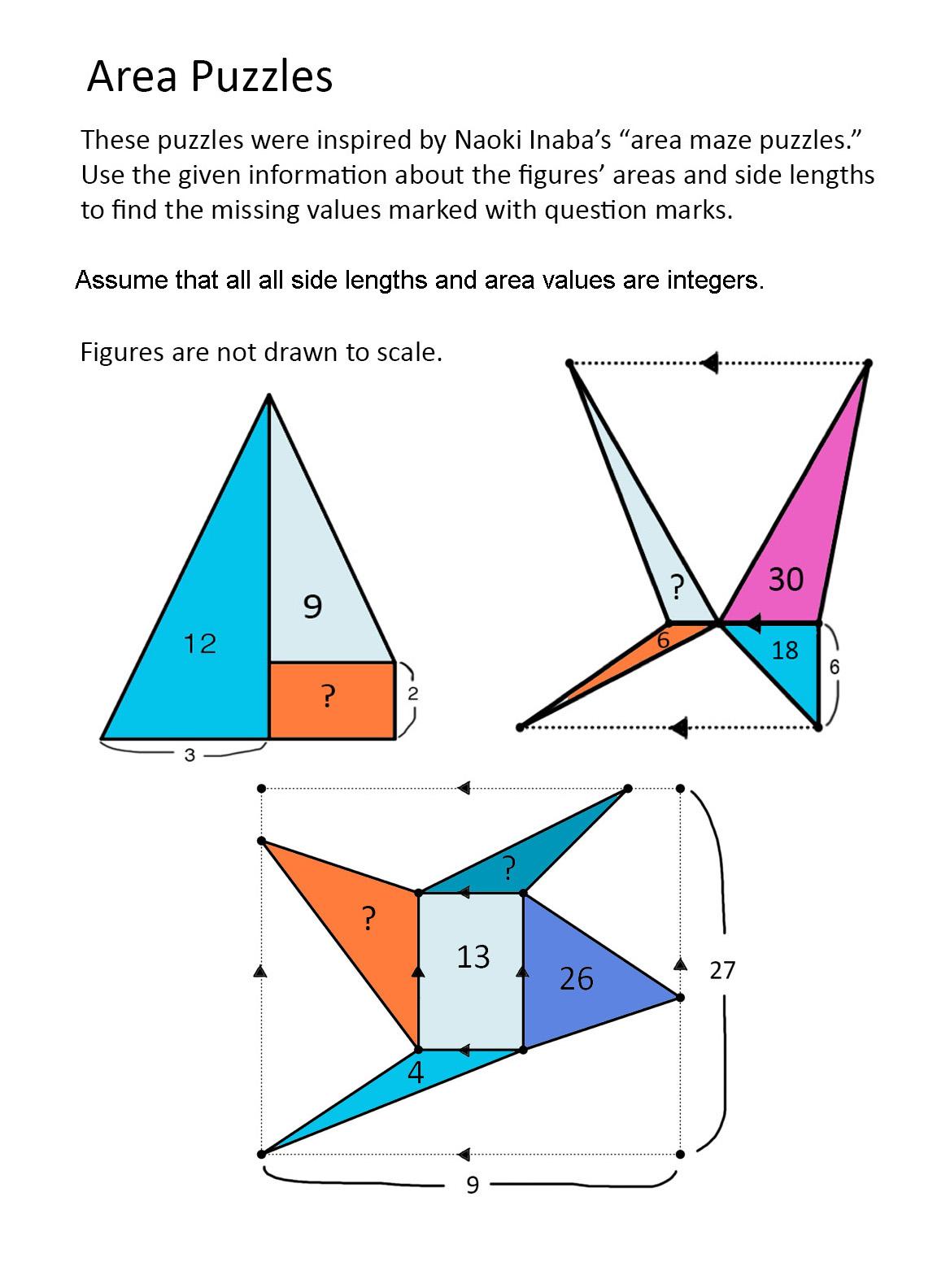 Math Problems Area Puzzles