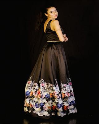 vestido largo de flores para navidad