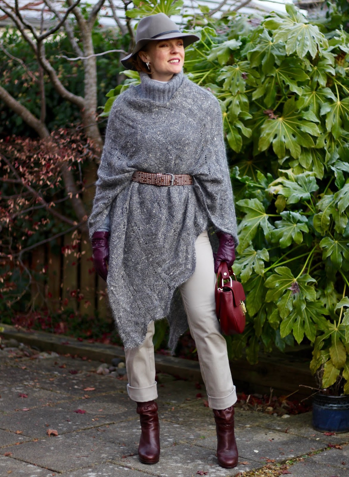 Layered knits | Styling a Poncho and a Hat, over 40 | Fake Fabulous