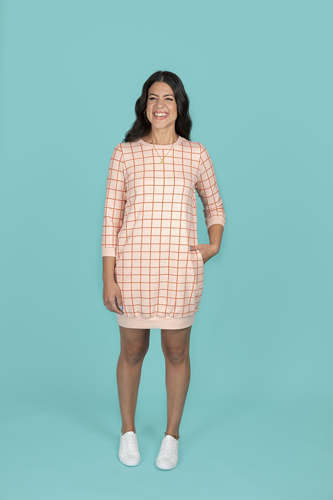 Billie sweatshirt and dress sewing pattern by Tilly and the Buttons