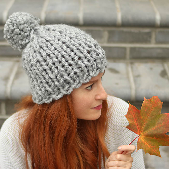 Chunky Flat Knit Hat Knitting Pattern
