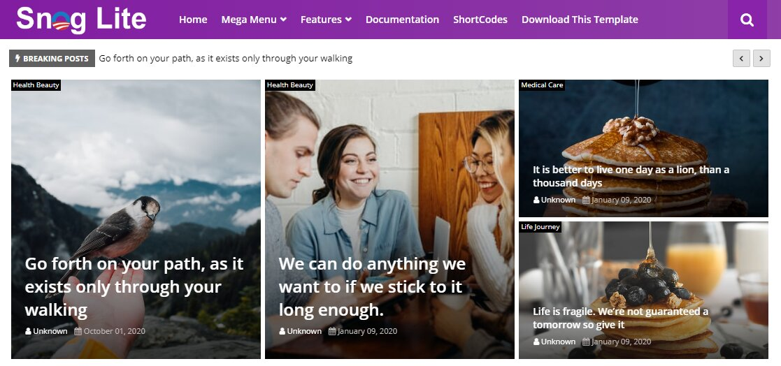 Snog Lite is a perfect free responsive template for blogger for small news, who went to create fast setup an online megazine blog within minutes and start publish their contents with expertise.