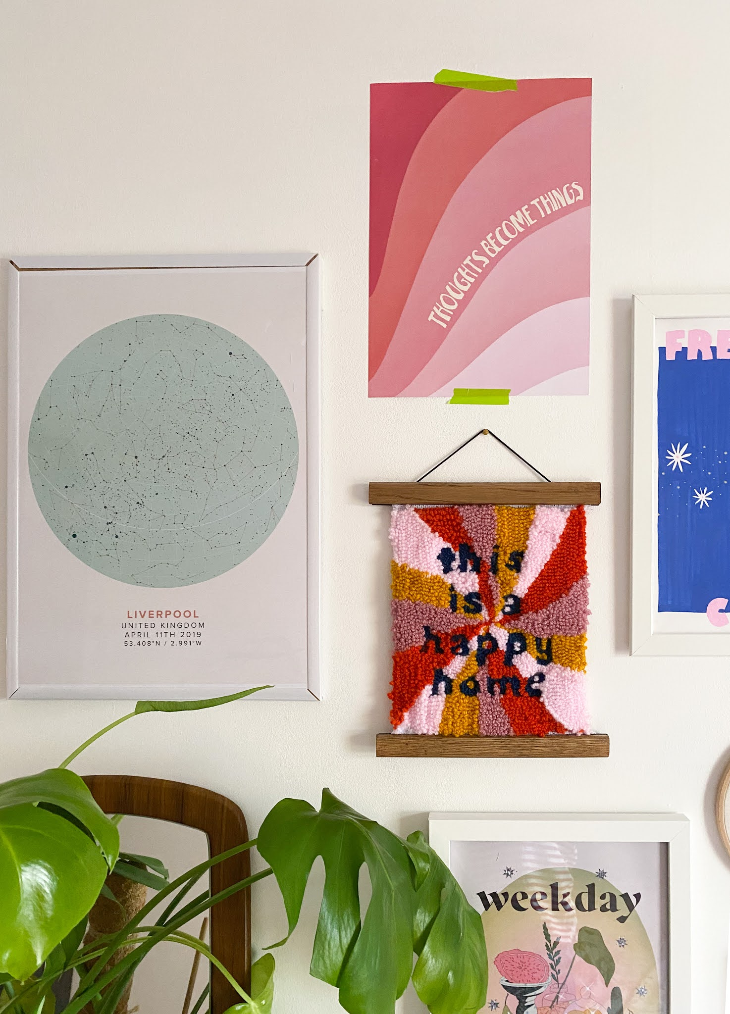 """personalised 'stars on the day we met' print from mapiful, allie Josie studio 70s style punch needle """"this is a happy home"""" wall hanging, 70s style groovy pink print reading """"thoughts become things"""""""