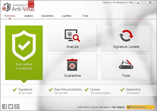 Ashampoo Anti-Virus 2016 provides sophisticated real-time protection without compromise. Heavy on security, light on resources, virus, trojan, spyware and other malware is automatically eliminated without slowing down host PCs