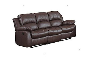 Classic and Traditional Brown Bonded Leather Recliner Chair