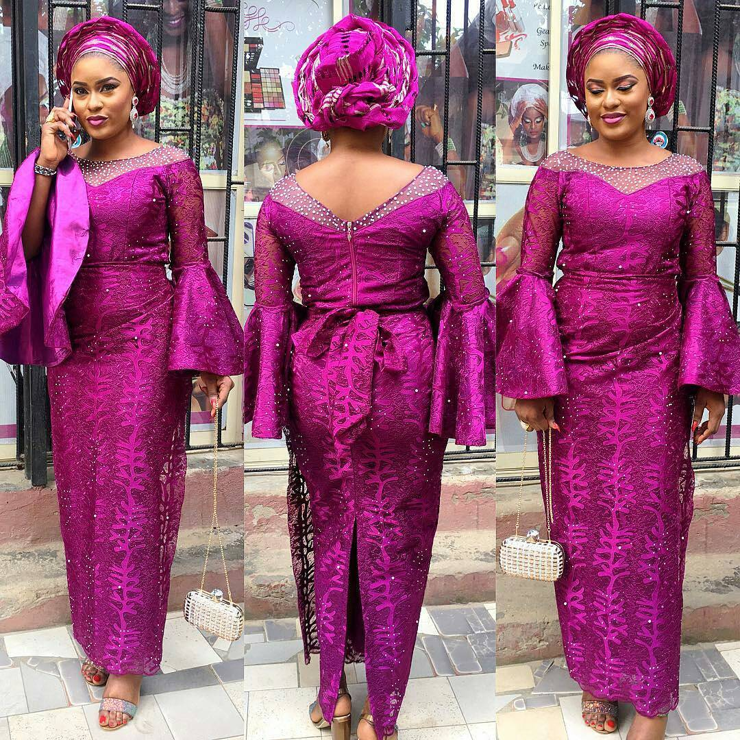 Latest Aso Ebi Gown Lace Style