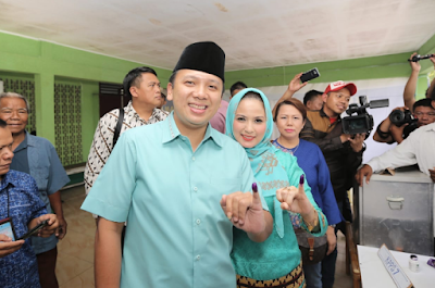 Gubernur Ridho Gunakan Hak Pilihnya Pada Pilgub Lampung 2018