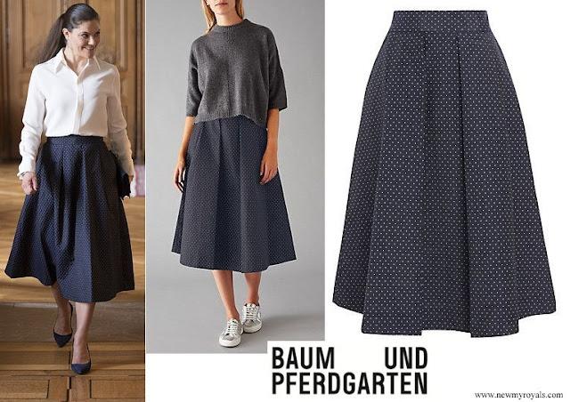 Princess Victoria wore Baum Und Pferdgarten Sashenka Pleat Skirt Jacquard Dots Ladies