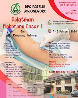 Pelatihan Flebotomi Dasar I dan Uji Kompetensi Flebotomi DPC PATELKI Bojonegoro 2020