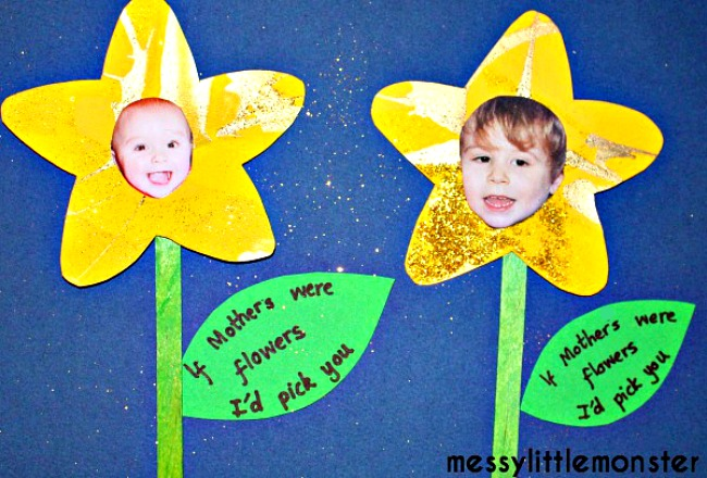 Spring flower craft for kids including photographs.  If mothers were flowers i'd pick you. A cute gift made by babies, toddlers, preschoolers, eyfs.