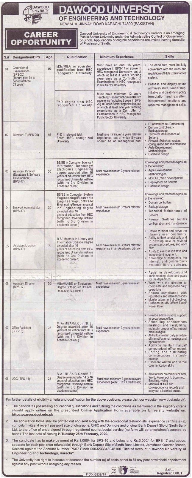 Dawood University of Engineering and Technology Jobs 2020
