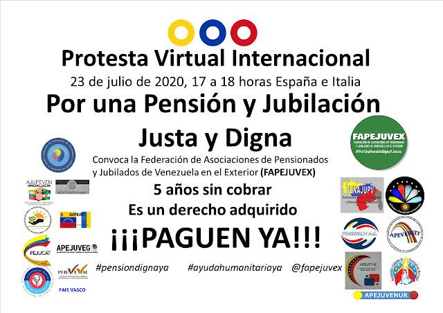 FapejuveX convoca a los pensionados y jubilados de Venezuela a una Protesta Virtual Internacional