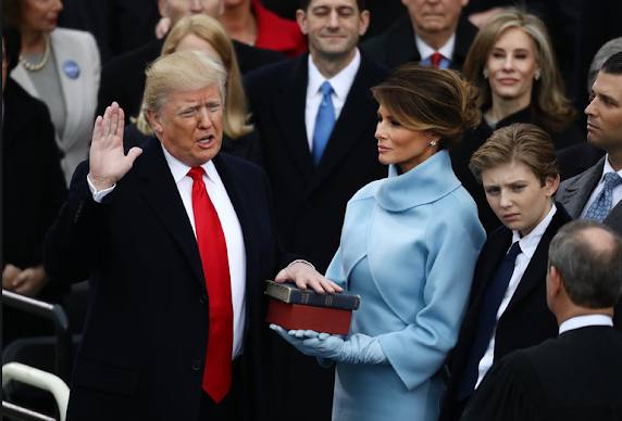 photo of Donald Trump's swearing in as U.S. President.
