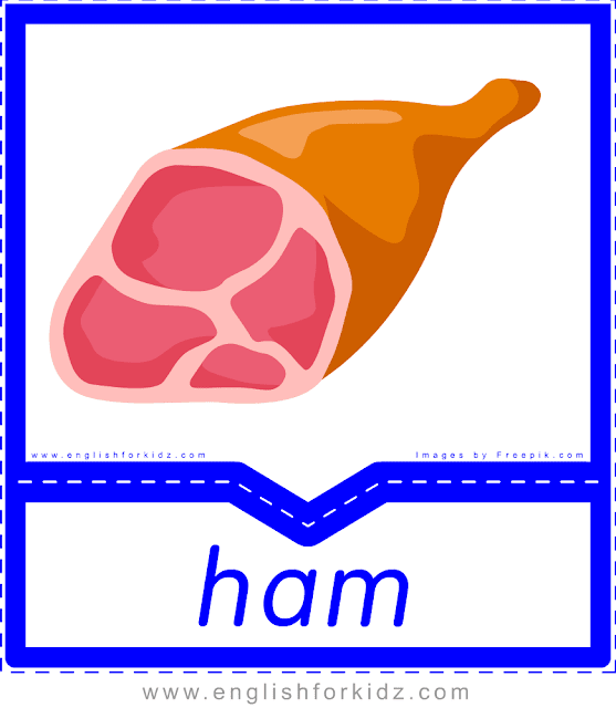 Ham - English food flashcards for ESL students