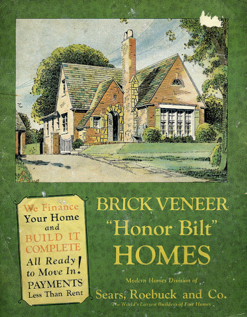 brick Sears Mitchell -- Sears Stratford-- gracing green cover of Sears Honor Bilt brick veneer catalog