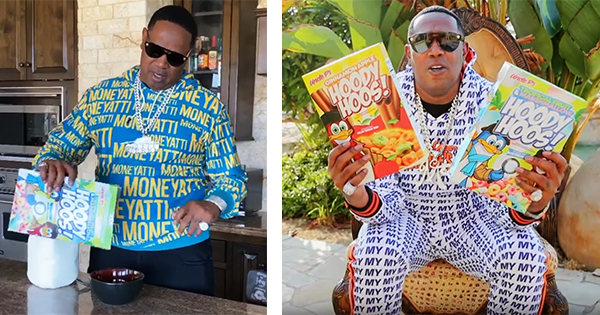 Master P with his Uncle P's Hoody Hoos cereal brand