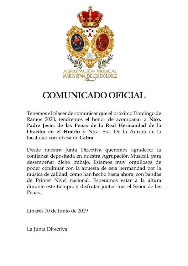 Rescate de Linares acompañará a la Oración en el Huerto de Cabra en el 2020