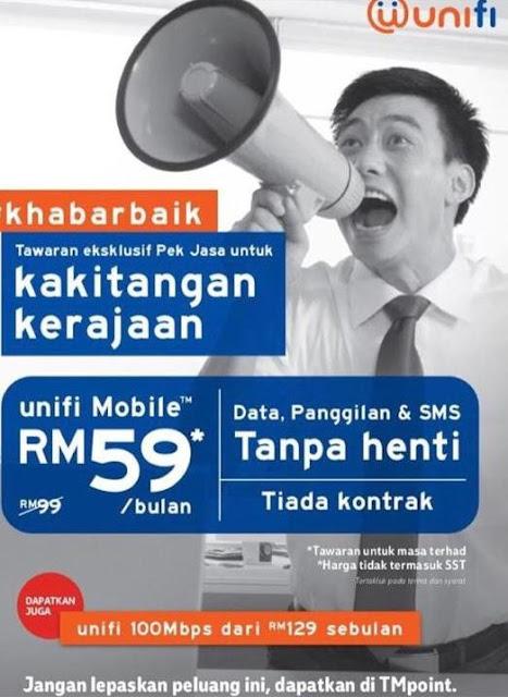 Pek Jasa unifi Mobile RM59 UNLIMITED buat Penjawat Awam