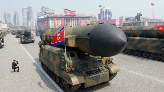North Korea displayed its missile arsenal in a massive military parade in April