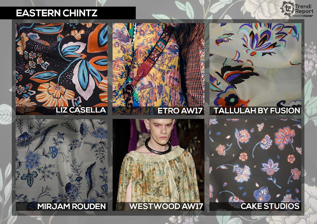 Textile Candy, eastern chintz, chintz floral, liz Casella, Etro, Westwood, Mirjam Rouden, Premiere vision, trend report, trend forecasting, Spring/Summer 2018, SS18