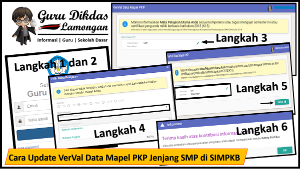 Cara Update VerVal Data Mapel PKP Jenjang SMP di SIMPKB