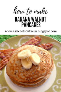 Banana Walnut Pancakes: Light fluffy steaming hot pancakes laced with bananas and walnuts are doused in warm maple syrup. - Slice of Southern