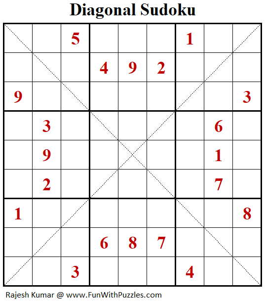 Diagonal Sudoku Puzzle (Fun With Sudoku #291)