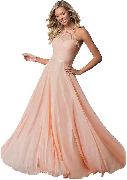 Long Chiffon Halter Bridesmaid Dresses