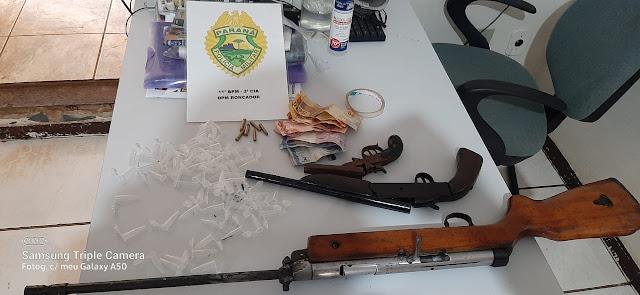 Roncador: PM prende jovem com armas e drogas