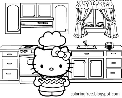 Tasty hot apple pie cooking oven backing in the kitchen Hello Kitty printable art sheets for teenage
