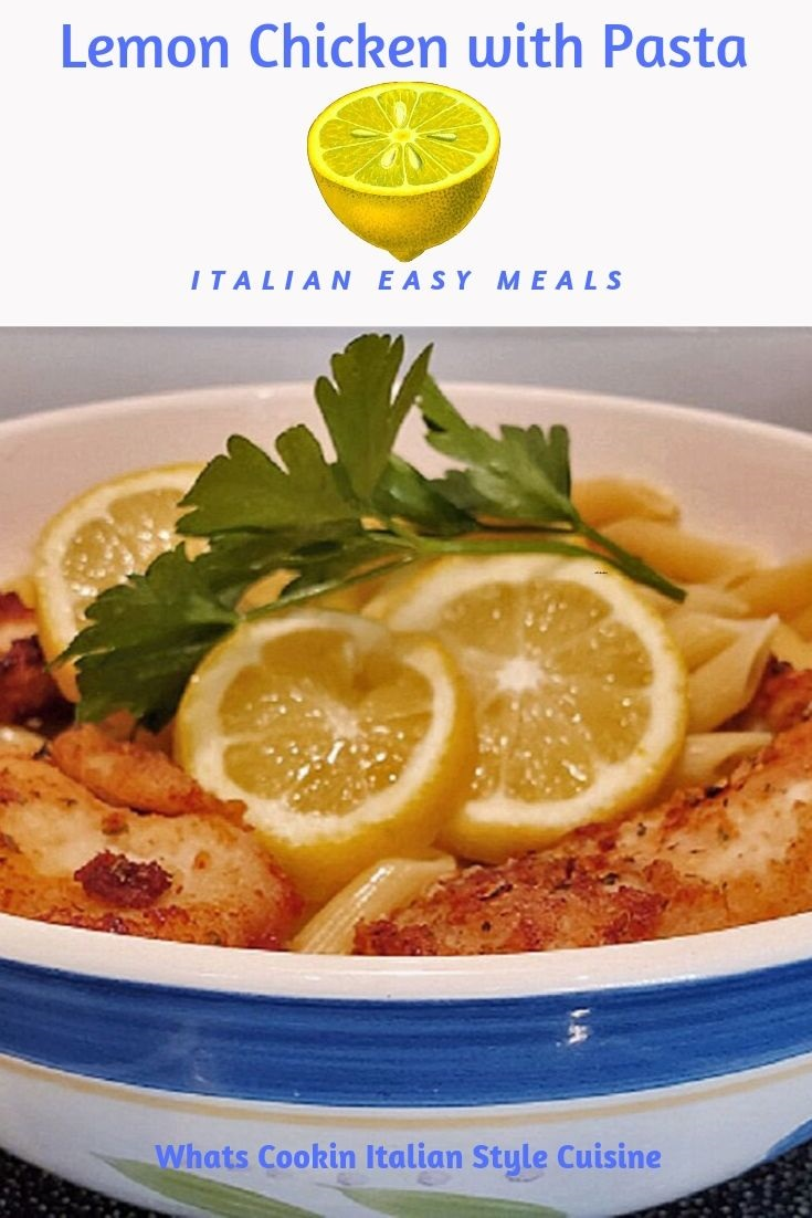 this is a pin for later lemon chicken with pasta